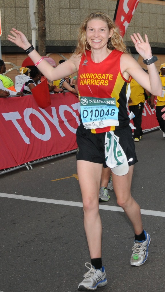 Ros Moore finishing the Comrades Marathon in style!