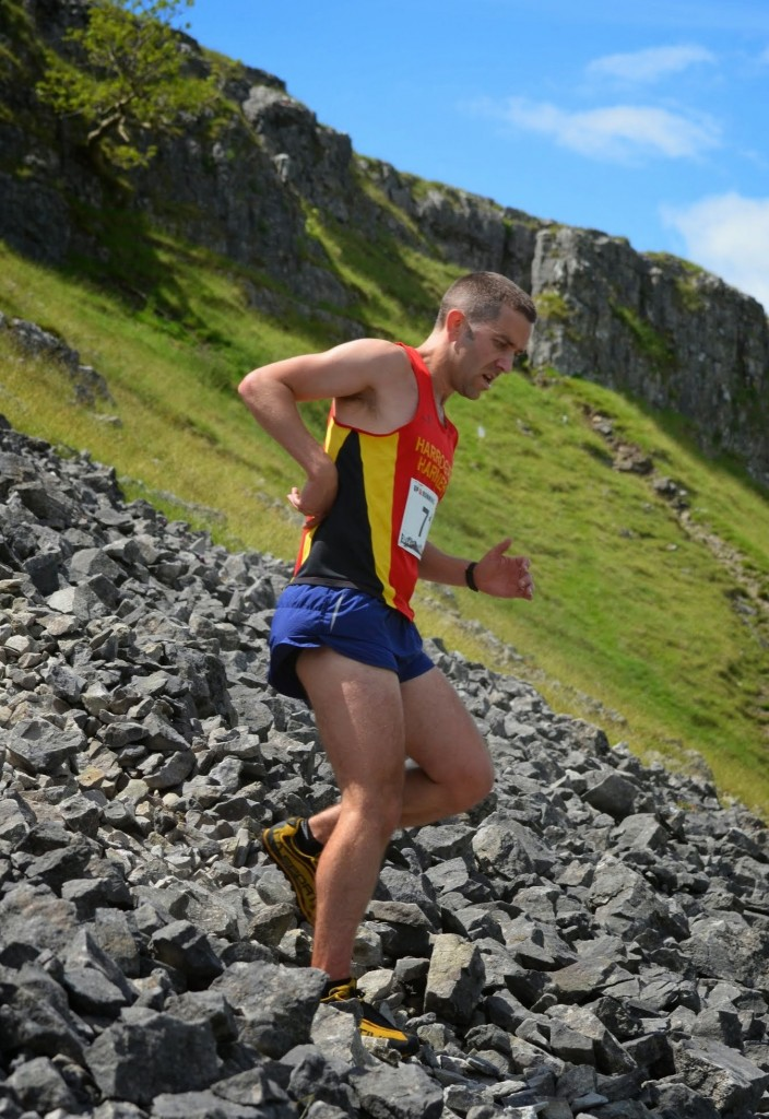 John Young at the Kilnsey Crag race (Dave Woodhead)
