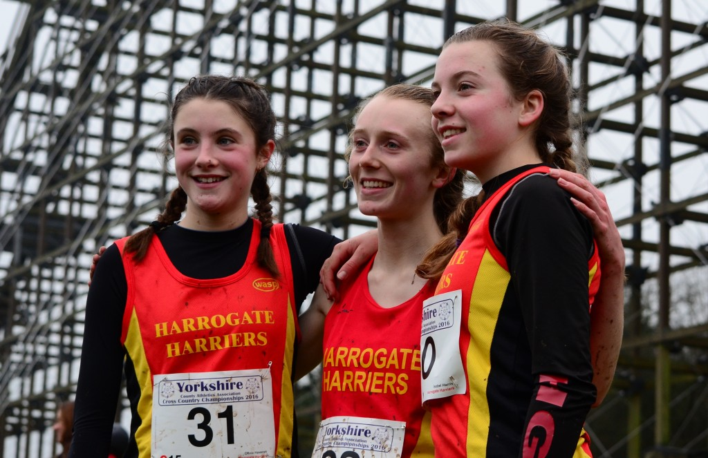 Olivia Haveron, Anna Beever and Isobel Harris at the Yorkshire XC Championships